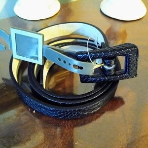 Women's black reptile embossed leather belt new me